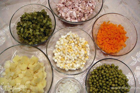 Отварить картошку, морковку, яйца. Все ингредиенты порезать небольшими кубиками.