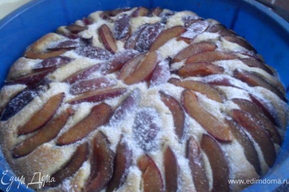 Снизить температуру в духовке до 170 *С.Вынуть пирог из духовки, смазать поверхность остатками сливочного масла, присыпать сахарной пудрой.Вернуть в духовку на 15 минут.