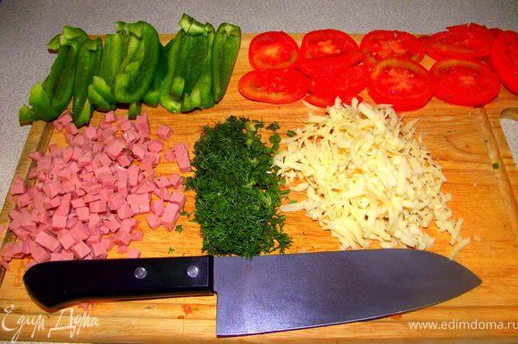 Порезать все ингредиенты для начинки.
