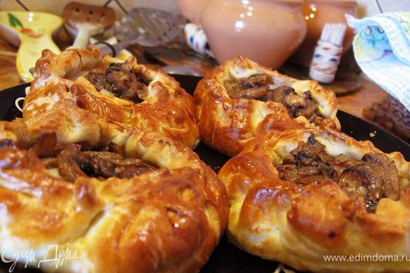 Смазать пирожки взбитым желтком и выпекать при температуре 200 градусов минут 15-20. Приятного аппетита!