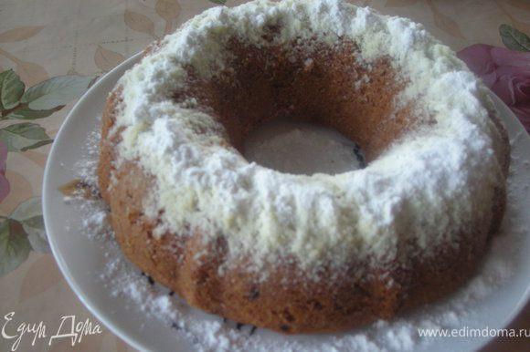 Готовый кекс посыпать сахарной пудрой и подавать к столу. Прятного апетита!!!