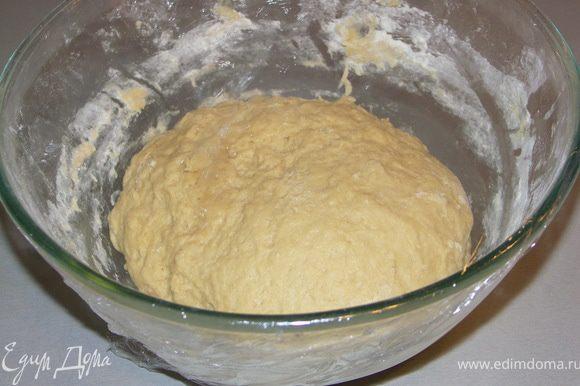 Потом подсыпать ещё 70-80 г муки и домесить тесто руками.Получится мягкое,но не липкое тесто.Закрыть его пищевой плёнкой и поставить в тёплое место на 2-3 часа.
