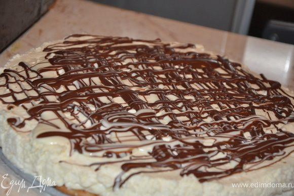 Можно украсить шоколадной глазурью. Торт готов. Приятного аппетита, друзья!!!