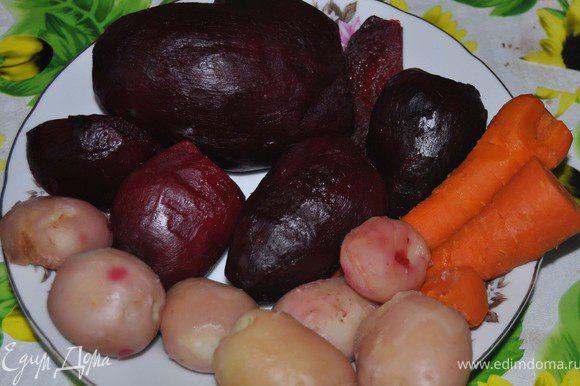 Отварить и почистить картофель,морковь,свеклу.