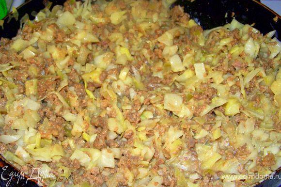 Разогреть в сковороде масло и обжарить лук, фарш, сметану и капусту, немного потушить.