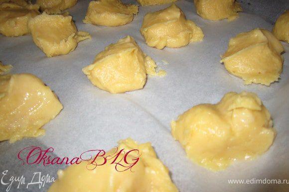 Противень застелить пергаментной бумагой. Выложить тесто десертной или чайной ложкой ( ложку предварительно окунать в воду). Или отсадить тесто с помощью шприцы.
