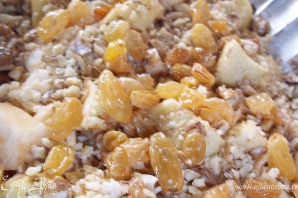 На тесто выложить порезанные на кубики яблоки, вымытый изюм, и измельченые орехи(не в блендере). Выпекать при температуре 200 градусов, около 20 минут.