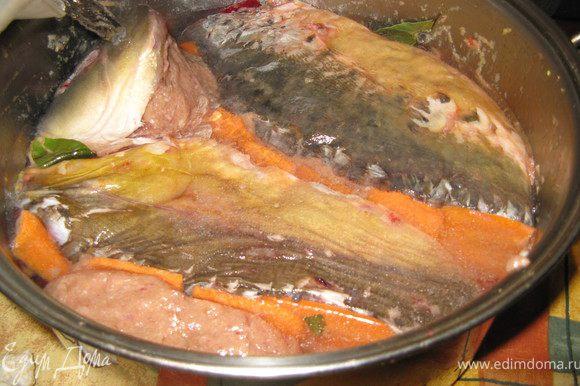 Остается добавить в кастрюлю перец горошком и лавровый лист, и залить холодной водой. Уровень воды должен быть вровень с верхним слоем или немного не доходить до него. Тогда получится нежное, но устойчивое желе, в которое не надо будет добавлять желатин. В этом рецепте указана мерка соли, выработанная экспериментально на стадии приготовления фарша, для чего и требовалось точно взвешивать филе. А на данном этапе солить бульон не нужно вовсе.