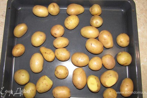 Обсушите картофель полотенцем и положите в глубокий противень.