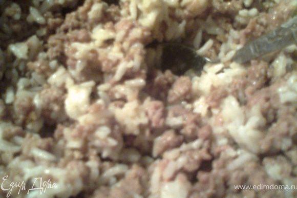 Обжариваем большую луковицу,мелко нарезанную,потом добавляем к ней фарш,приправы и на среднем огне доводим до готовности,помешивая.Рядом отвариваем рис в пакетике(15-20минут)