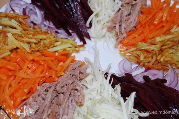 Выкладываем поочередно все ингредиенты салата небольшими сегментами на большую тарелку или блюдо,оставляя в центре небольшой круг диаметром 8-10 см. Сюда после полной выкладки салата мы добавим майонез или сметану (можно придумать еще какой-нибудь подходящий соус на ваш вкус).