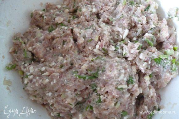 Приготовим фарш:мясо пропустить через мясорубку вместе с луковицей,добавить к нему натертый на крупной терке сыр,яйцо,муку,зелень,поперчить,посолить и хорошо перемешать.Убрать в холодильник.