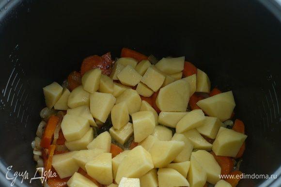 добавить нарезанную кубиками картошку и обжаривать минут 10
