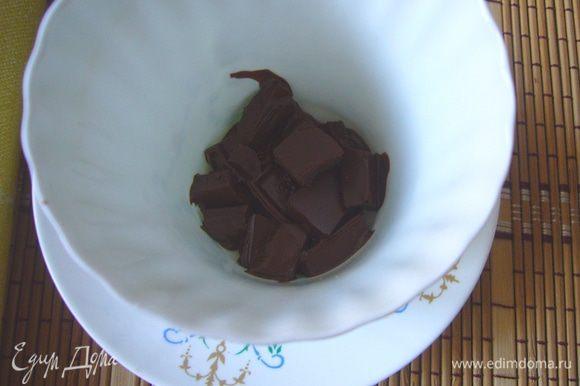 Шоколад растопить на водяной бане или в микроволновке. Разложить по чашкам. Я разламываю шоколад на маленькие кусочки и сразу в чашках для кофе топлю в микро.