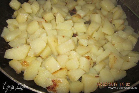 Пока варилась фасоль,обжарили картофель.Отдельно морковь с луком обжарили,добавив в конце помидор,мелко нарезанный.