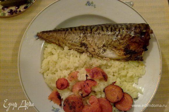 Подавала с отварным рисом. Хотя, эта рыбка приятна с любым гарниром. Приятного аппетита!