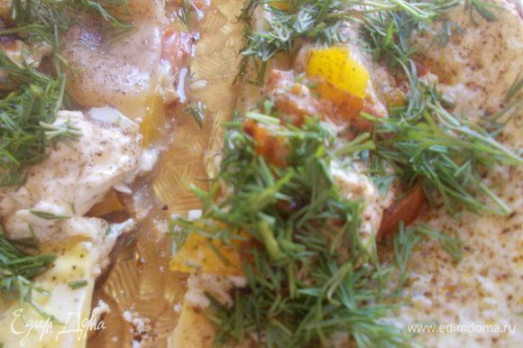 лук мелко нарезать и выложить на разогретую сковороду с оливковым маслом.Помидоры очистить от кожуры нарезать кубиками и добавить к луку.перчик тоже нарезать кубиками и выложить к луку и помидорам.накрыть крышкой и жарить пока перчик не станет мягким.Затем брынзу покрошить и добавить в сковороду,заливаем яйцами,перчим(если надо солим,я не солила т.к.фета соленая)накрываем крышкой и готовим пока яйца не дойдут до готовности.Посыпаеп петрушкой!Вот такой вот завтрак!Приятного аппетита.