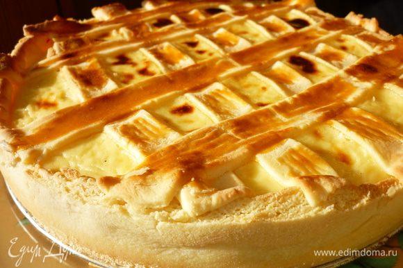 Убавить огонь до слабого и выпекать ещё 15 минут.Готовый пирог переложить на блюдо и посыпать сахарной пудрой.Приятного аппетита!!!