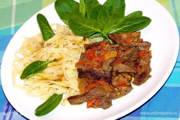 После того как мясо стало мягким и нежным вытащим лавровый лист,приготовим гарнир и с удовольствием поужинаем:))Приятного аппетита!:)