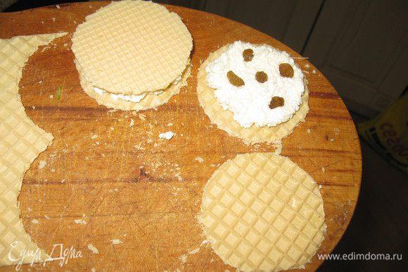 Творог смешать с сахаром, солью,добавить изюм. Если творог очень сухой растереть, если обычный-просто перемешать с сахаром.Лучше если он крупками и посуше. На кружок вафельный положить творог, вторым накрыть.
