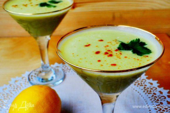 Разлить суп по креманкам или тарелкам,посыпать молтой паприкой,украсить зеленью. Блюдо в какой- то степени является универсальным. Его можно подать в качестве закуски, в горячем виде, как первое блюдо, или в качестве освежающего ланча жарким днём. Приятного аппетита!