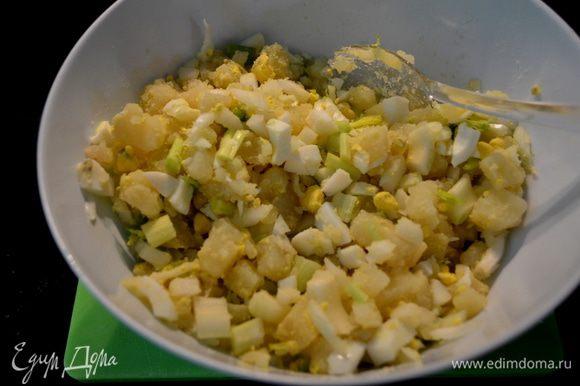 Смешать майонез,уксус,горчицу соль и перец в стеклянной миске или пластмассовой.Выложить сюда же картофель порезанный,сельдерей,лук и яйца,перемешать.