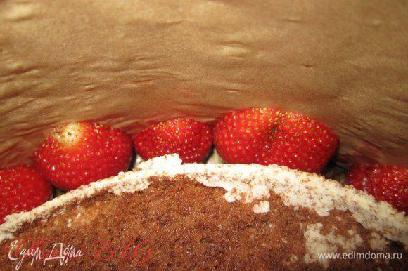 В пространство между тортом и бортиками формами положить половики клубники, срезом к бортику.