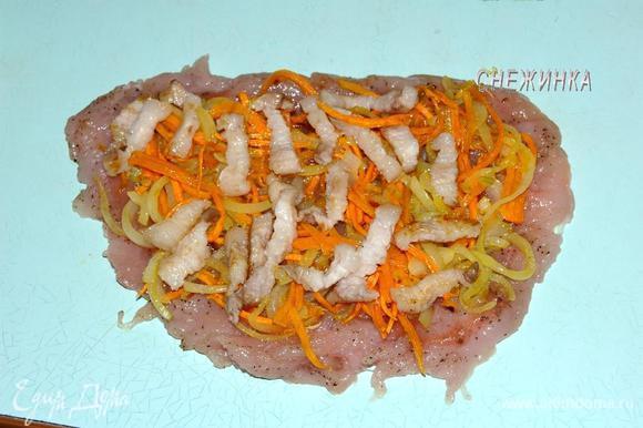 Респределить половину овощей, затем половину бекона.