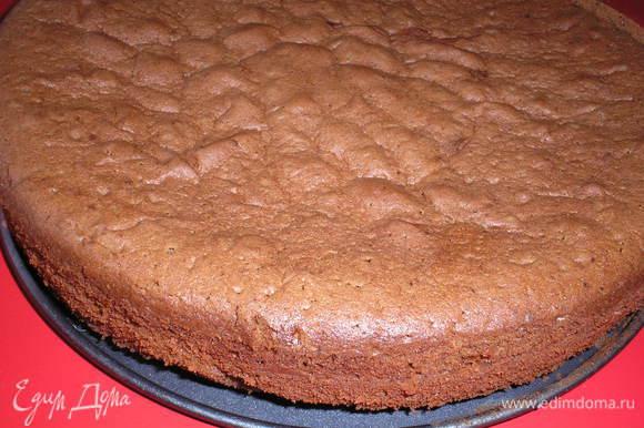 Вылить тесто в форму, застеленную пергаментом. выпекать в ранее разогретой духовке при темп.180 гр. 45-50 минут. Корж остудить и разрезать на 3 одинаковый части.