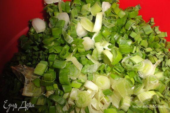 Нарезать зеленый лук.