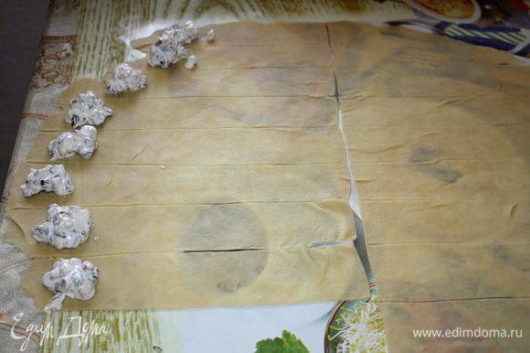 По внешнему краю лент выложить начинку, примерно по чайной ложечке.