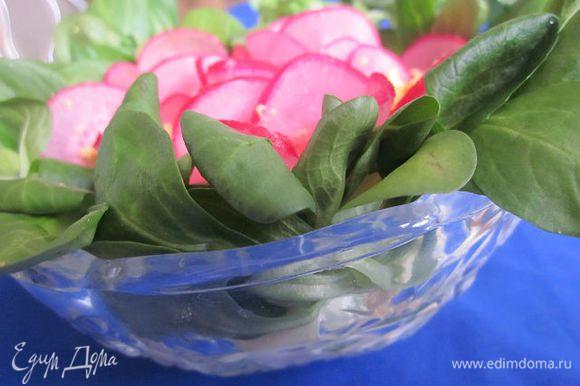 Для украшения я использовала редис, окрашенный в соке свёклы, желток и салат Корн.