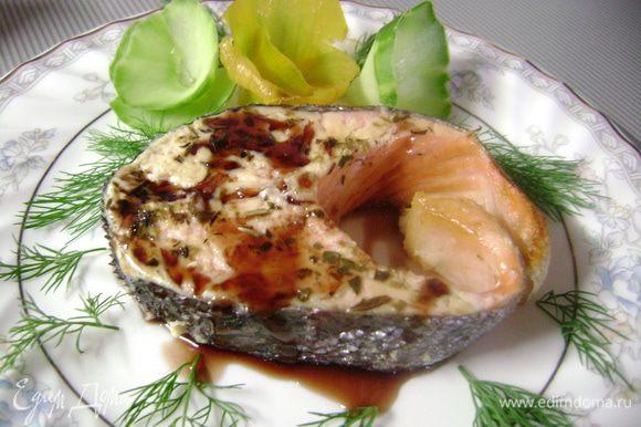 При подаче можно полить соусом Наршараб, восхитительное сочетание с красной рыбой!!!!