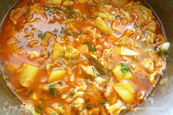 Затем перемешиваем, добавляем щепотку сахара, пробуем на соль, если надо - досолить. Добавляем зелень и еще тушим 10-15 минут. Выключаем огонь,даем блюду еще настояться минут 5 под крышкой и можно приступать к трапезе. Приятного вам аппетита!