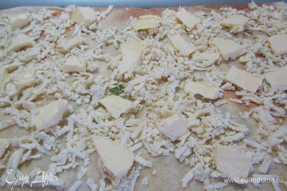 Лаваш, баклажаны, лук, зелень, измельченный чеснок. Лаваш, сыр, слив. масло, лаваш.
