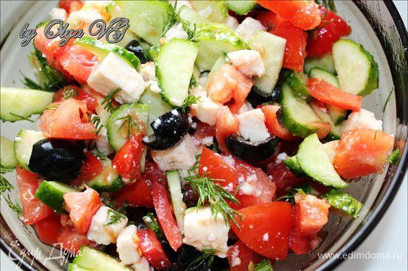 Ну а после приготовила вкусняцкий салатик!!!)