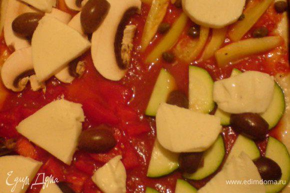 На тесто вылить томат (помидоры из банки). Посолить и поперчить сладкий перец, выложить его на 1/4 теста и присыпать каперсами. На вторую четвертинку положить цуккини и несколько оливок. На третью часть выложить измельченный помидор и также немного присыпать оливками. Четвертую часть заполнить ломтиками грибов и оставшимися оливками. Моцареллу нарезать ломтиками и разложить на пицце. Можно все слегка посолить и поперчить. Выпекать 20 минут.