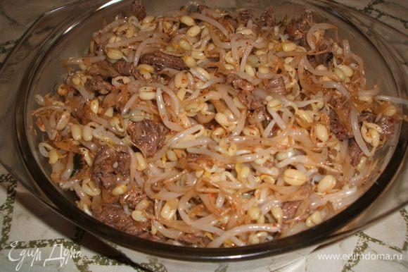 Выкладываем маш в посуду и заправляем наш салат добавляя мелко нарезанную кинзу, соль, специи и др. ингредиенты. Перемешиваем и убираем в холодильник, чтоб салат настоялся. Вот и все, полезный и вкусный салат готов! Приятного аппетита!!!!!