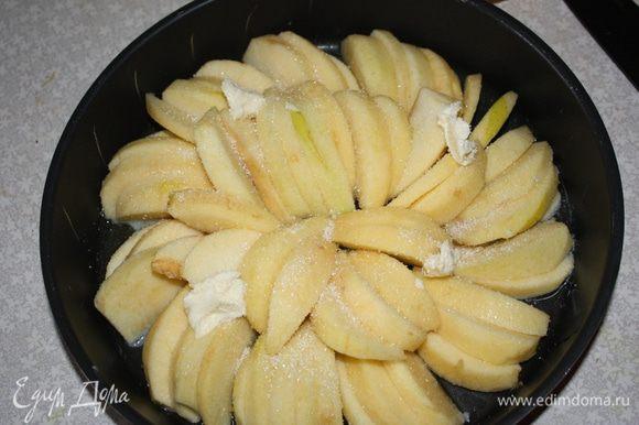 Выложить яблоки плотно в два слоя и выложить кусочки слив. масла. Поставить в хорошо разогретую до 180 градусов духовку на 30 минут.