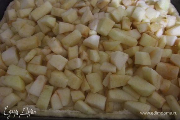 Для начинки растереть творог с яйцами , всыпать порошок пудинга, добавить цедру и сахар. Смесь выложить на тесто и разровнять. Яблоки вымыть, почистить. Нарезать кубиками сбрызнуть лимонным соком и выложить на творожную массу. Нагреть духовку до 180 градусов.