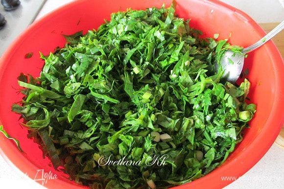 Приготовить зелень. Хорошо промыть ее в проточной воде, оставить для просушки. Не солить заранее. Добавить только специи и черный перец.