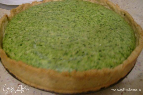 Дать пирогу слегка остыть, нарезать на кусочки и подавать. Приятного аппетита))