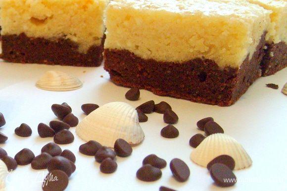 Готовые пирожные разрезать квадратиками и подавать к кофе))