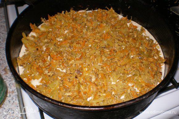 Хорошо смазываем форму маслом и выливаем половину теста, а на него выкладываем начинку.