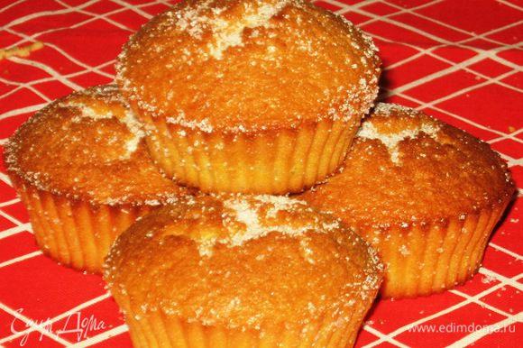 Остудить кексы на решётке и посыпать оставшемся сахаром. Приятного аппетита:)