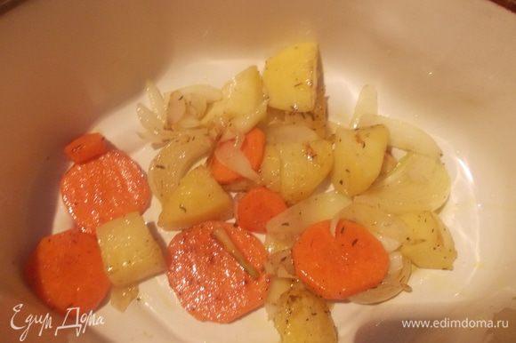 Выложить овощи из сковороды. Половину положить в посуду для запекания.