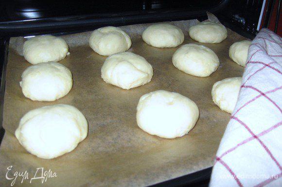 Добавить растопленное сливочное масло, соль, яйцо , муку понемногу, замесить тесто, хорошо промять, чтобы отставало от рук. Сразу разделить на 12 кусочков, скатать шарики, немного приплюснуть и положить на выстланный промасленной бумагой противень. Настоять в теплом месте, я кладу рядом с открытой теплой духовкой, минут 30.