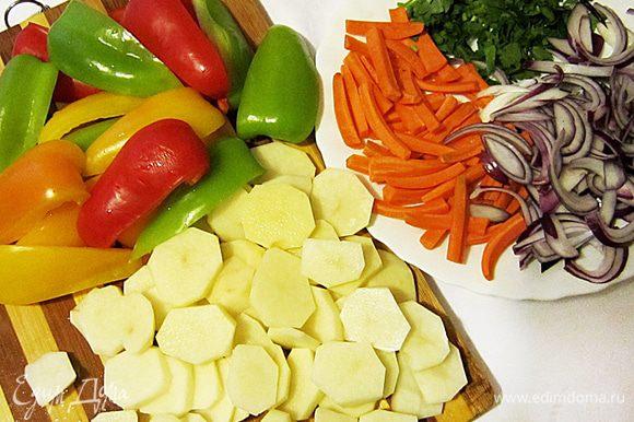 Подготовить овощи: картофель нарезать кружочками, морковь брусочками, каждый перец нарезать на 6 долек (удалив предварительно сердцевины), лук очистить и крупно нарезать. Петрушку порубить.