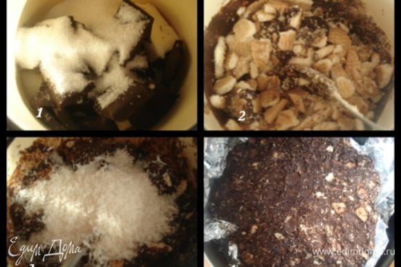 Приготовить основу: В кастрюлю с толстым дном поместить поломанный шоколад, сахар, молоко, сливочное масло и на медленном огне растворить до однородной массы. Поломать мелко печенье, добавить кокосовую стружку и перемешать. Разъемную форму выстелить фольгой, выложить приготовленную массу и распределить по дну и стенкам, сформировав бортик. Поставить форму на 30 минут в морозилку.