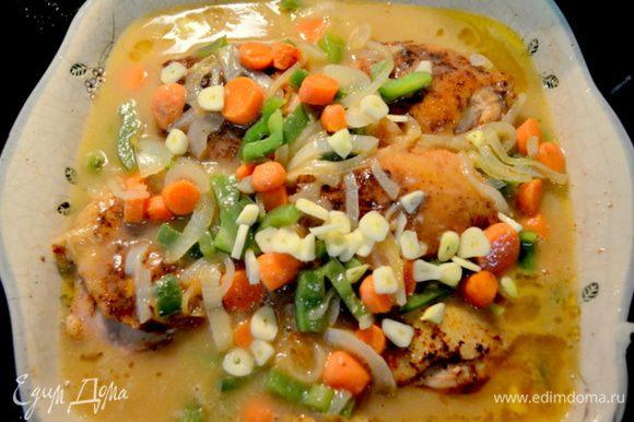 И выложим все со сковороды в жаропрочное блюдо с курин. кусочками. Добавим чеснок. Закроем фольгой и тушим в духовке еще 45 мин. А можно все сделать на плите, закрыв крышкой.